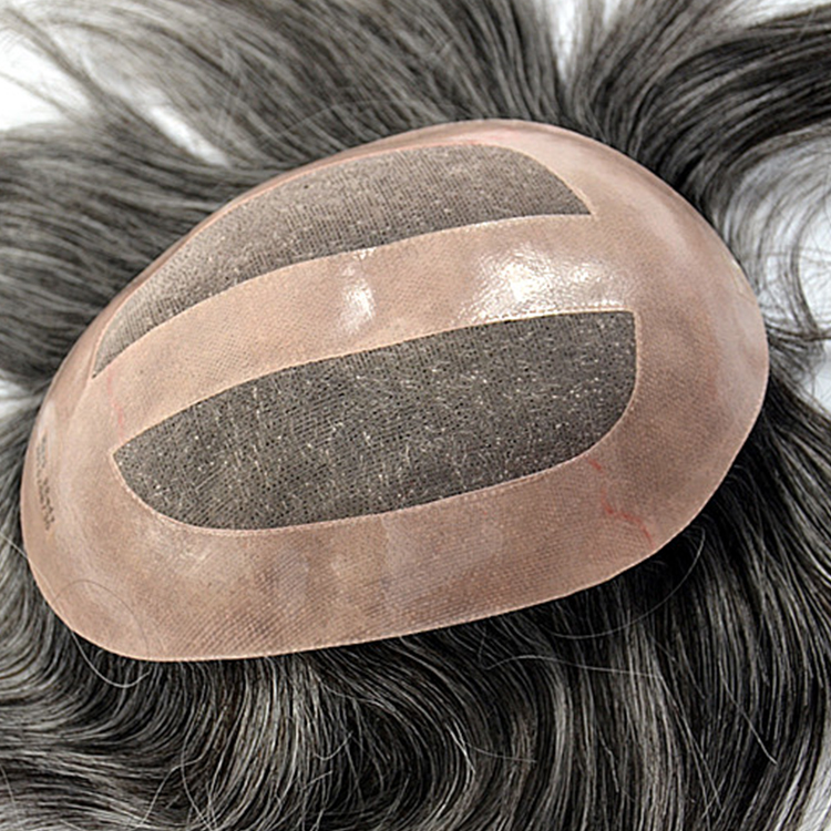 Mens gray long toupee natural hair toupee system  SJ00196