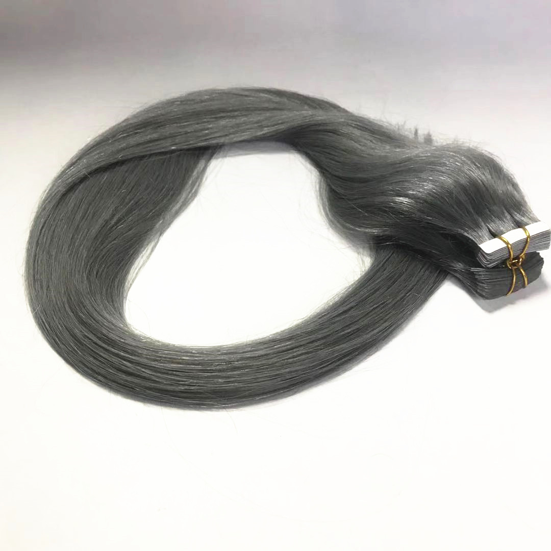 silver dark grey tape on hair extension double drawn 30 inch long hair remy hair WK278