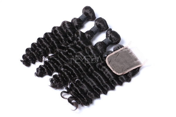 Deep wave human hair bundles with closure ZJ0089