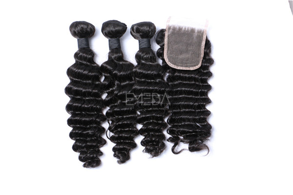 Deep wave virgin hair full head bundles with closure  ZJ0091