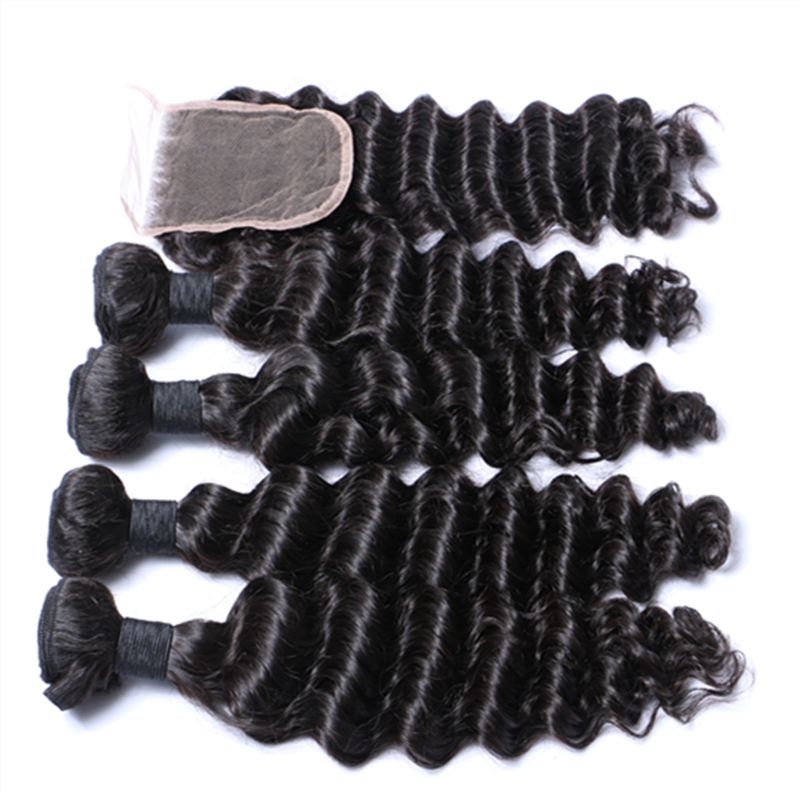 Human hair deep wave 10A grade natural color unprocessed bundles YL295