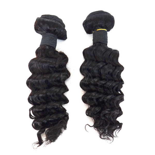 Virgin Hair Weaves Malaysian Human Deep Wave Natural Color   LM024