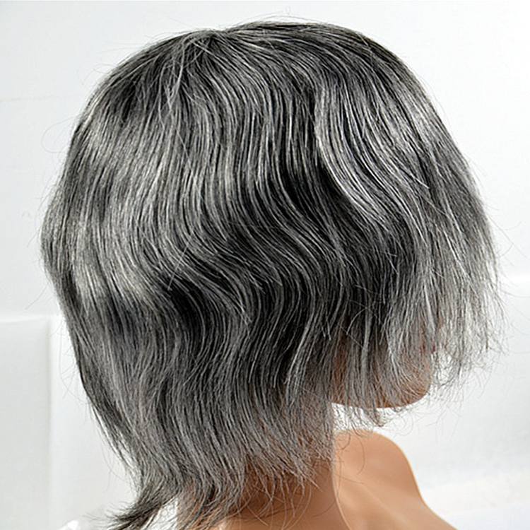 Real mens gray toupee hair online SJ00212