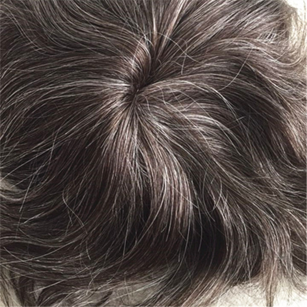 Full lace toupee 3# with 40% grey hair YL 115