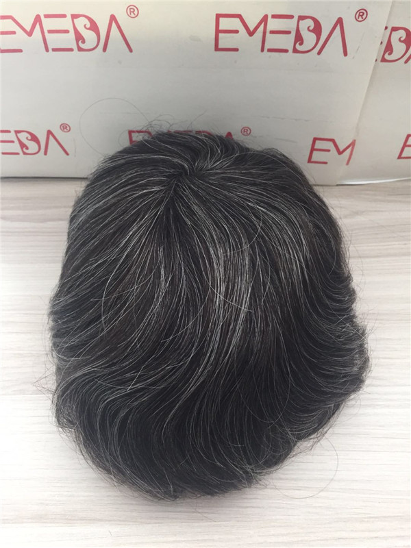 High quality remy human hair  piece super thin skin human hair with  grey hair men toupee YL259