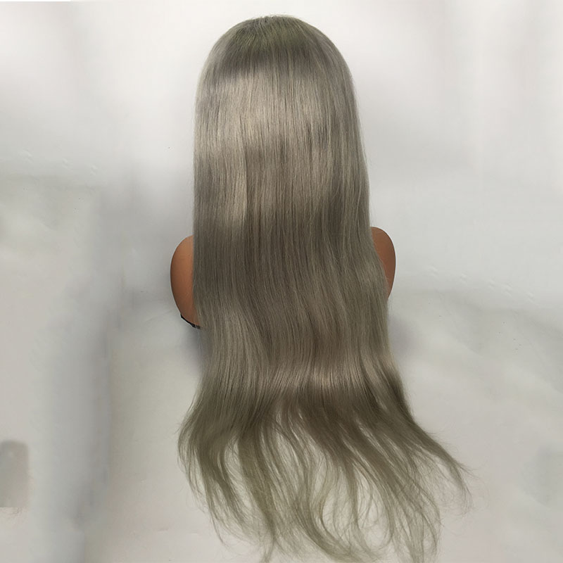 Grey Wig Human Hair Lace Front full lace Wig With Baby Hair YL404