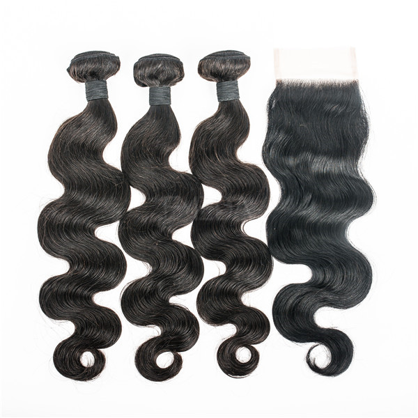 Virgin Human Hair Bundles With Closure Wholesale Price Indian Hair      LM036