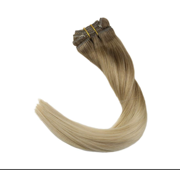 Real Human Hair weft Ombre Color Ash Brown Blonde Package Straight Brazilian Hair Sew In Extensions YL323
