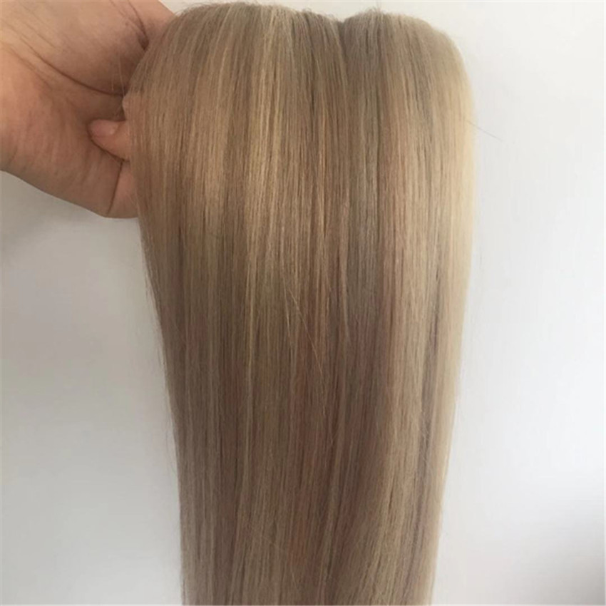 Remy human hair Blonde Hair Extensions Piano Color Medium Brown Highlight with Blonde  Straight hair weft YL288