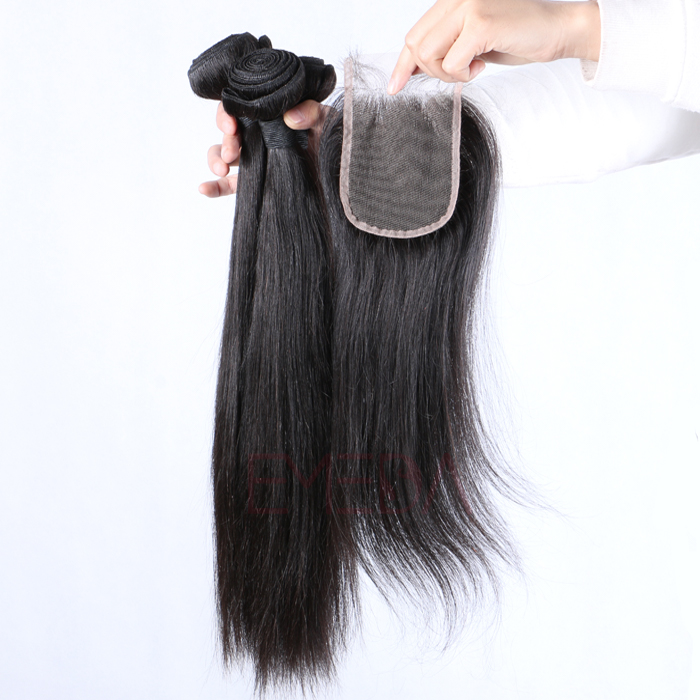 Hair Extensions with Closure Brazilian Straight Human Hair Bundles    LM033