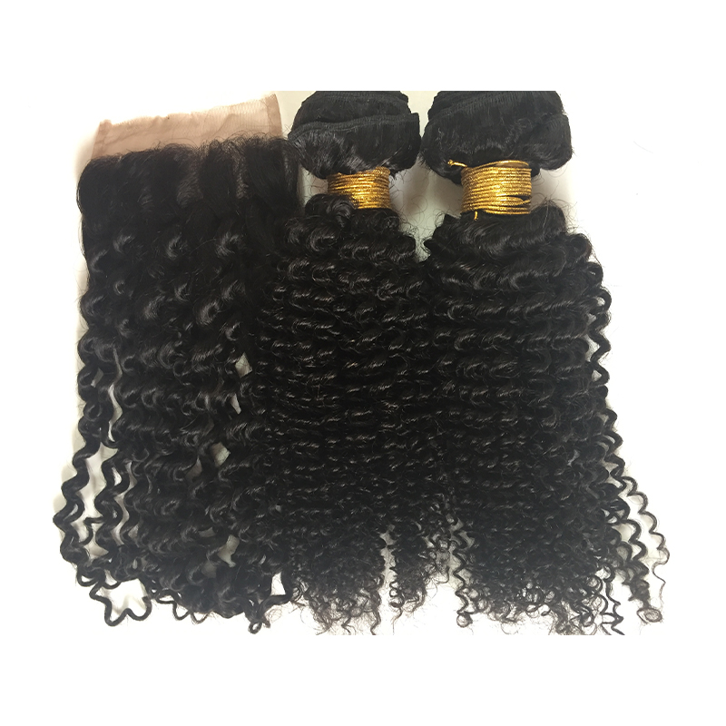 Kinky curly bundles with lace  closure natural black colors  10A grade remy hair  YL410