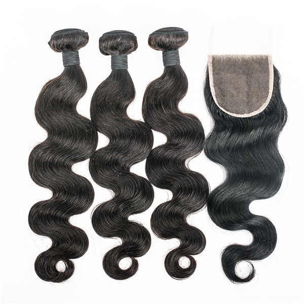 Indian remy body wave hair weft with closure large stock lp78