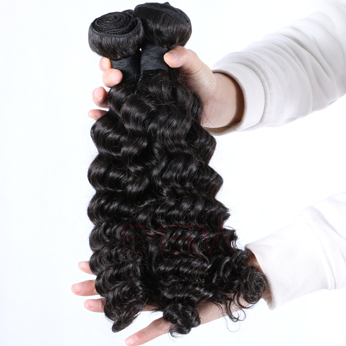 Brazilian human hair deep curly hair weave lace closure with bundles  Hw0104