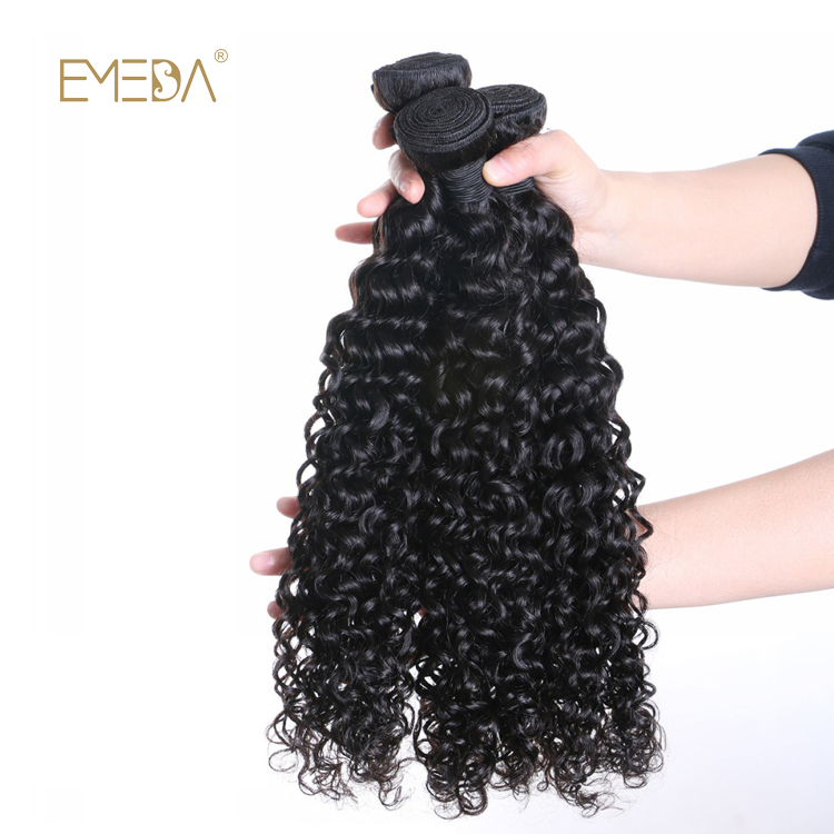 Brazilian Human Hair Weave Kinky Curly Virgin Natural Color Hair Bundles  LM378