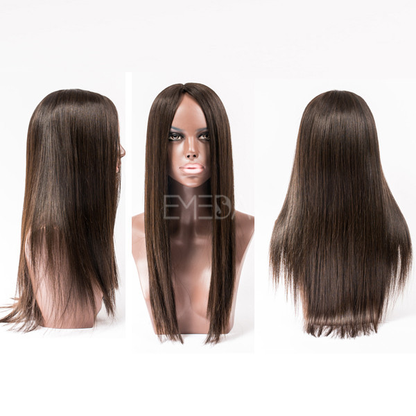 Middle part human hair lace front wigs YJ87