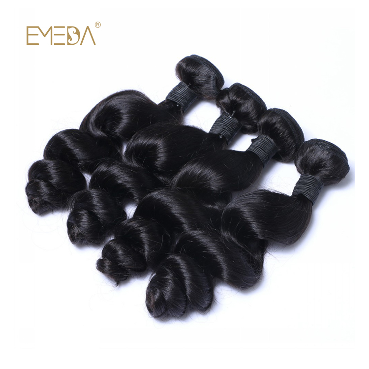 EMEDA Brazilian Human Hair Weave Deep Curly Black Hair Extensions HW011