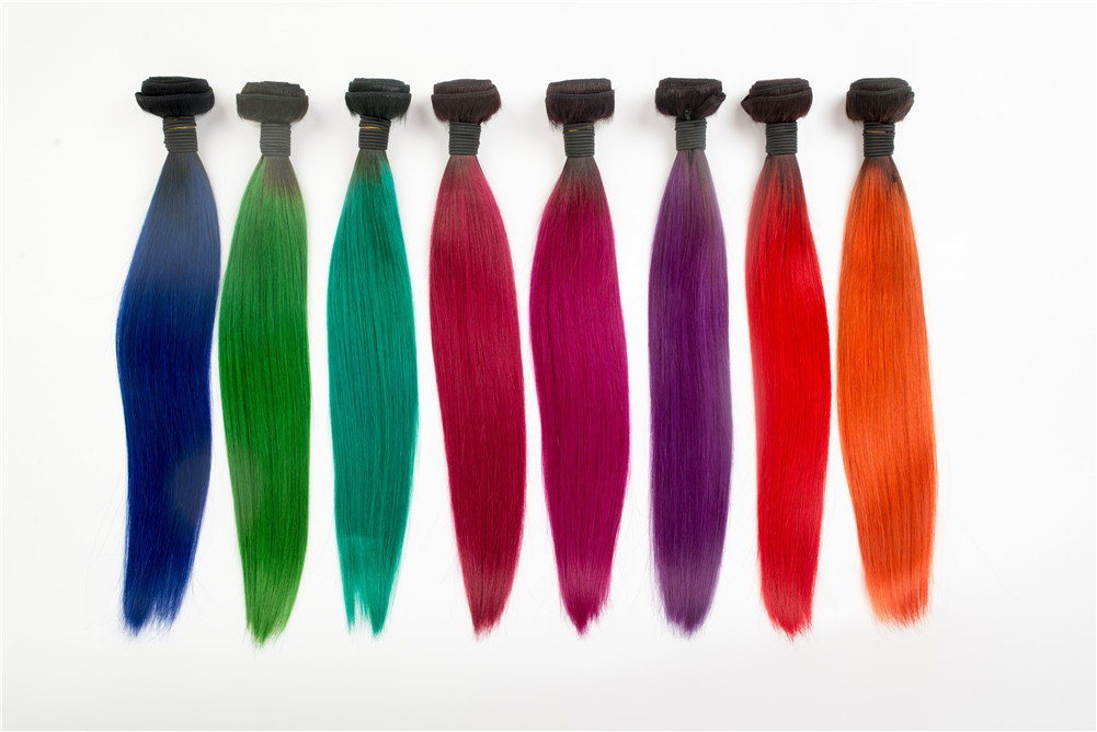 Cheap Wholesale 100% Human Hair colored ombre clip in hair extensions ...