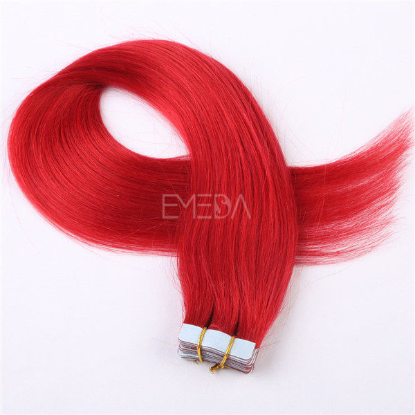 Customized lengths double drawn red dyed tape in hair extensions with high quality YL196