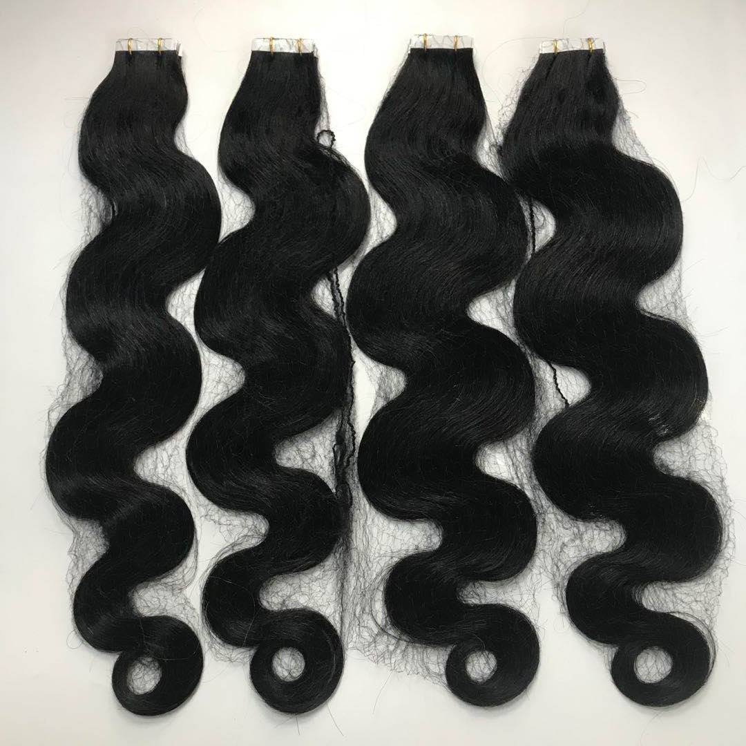 Body wave tape on hair extension jet black 22 length white tape virgin hair WK224