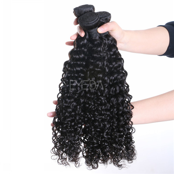 Stock virgin cuticle Malaysian human hair kinky curly hair wefts, hair weaving zj0010