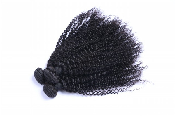 Kinky curl virgin Peruvian hair machine weft    ZJ0096