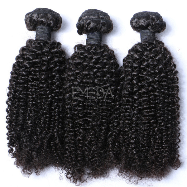 Indian kinky curly human remy hair sew in weaving weft YJ227