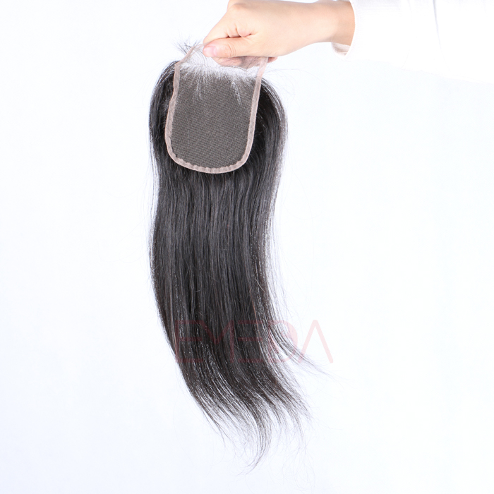EMEDA Lace closure 4x4'' Virgin Brazilian Hair closure silk straight  human hair weft with closure HW054