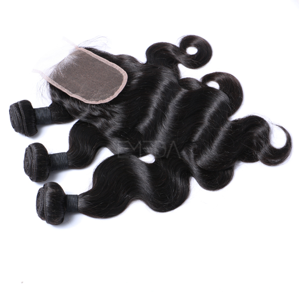 Wholesale high quality loose wave hair weft with closure WJ028