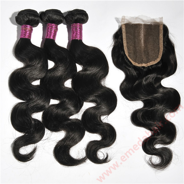 Body Wave human hair Lace closure hair bundles with closure YL096
