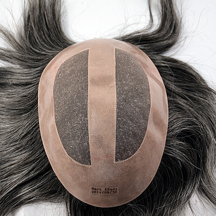 Fake real short mens hair pieces toupee SJ00197