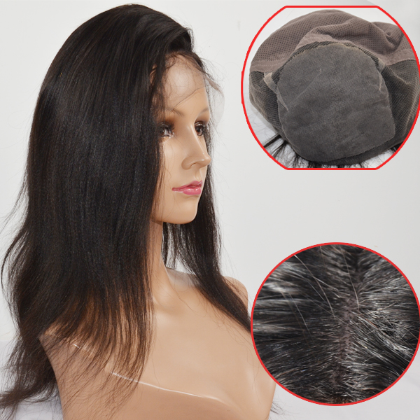 Yaki texture silk top hair wig LJ163