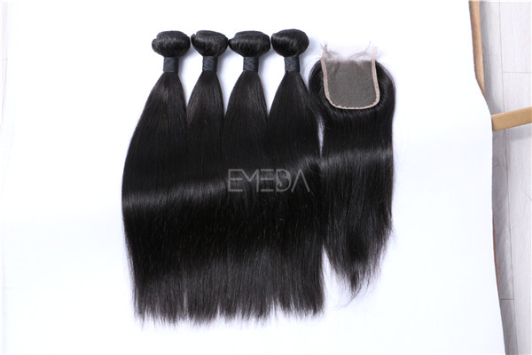 Malaysian virgin hair bundles with closure  ZJ0052