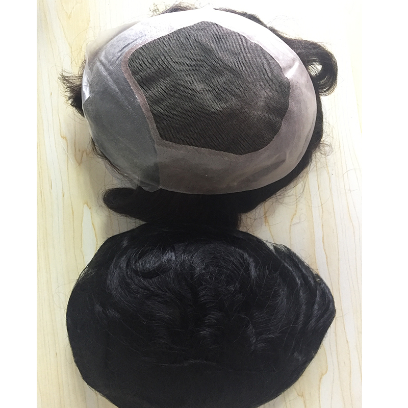 Thin skin PU  frontal V loop  men hair pieces with grey hair in stock now YL420