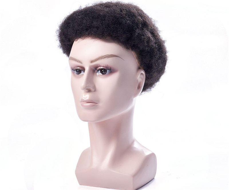Mens Toupee Wig Full Lace Afro Kinky Curly Replacement Hair System Handmade Hairpieces Indian Human Remy Hair WK113