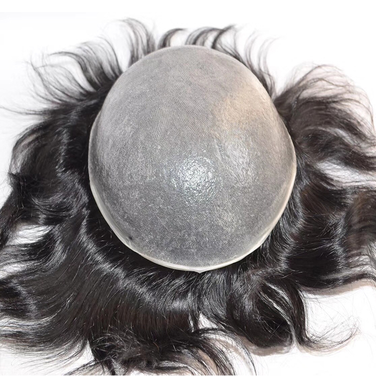 Grey cheap mens hair pieces toupee hairpiece glue SJ00201