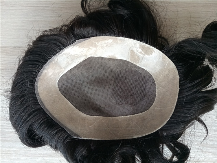 Mono with NPU around base hair piece toupee for men in stock QM069