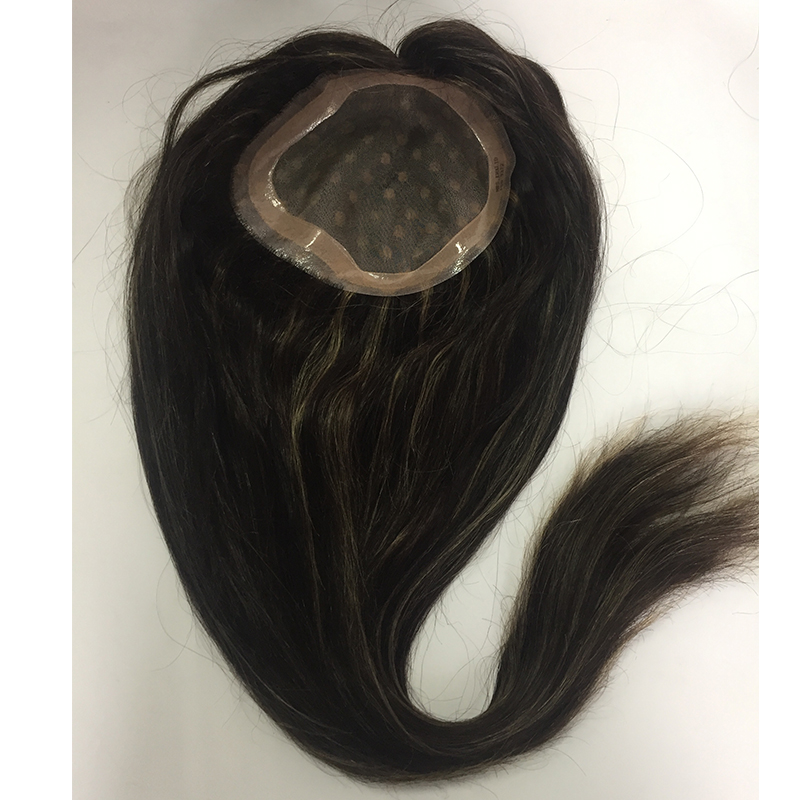 toppe for women and men mono base with pu around highlight colors human indian hair  YL422