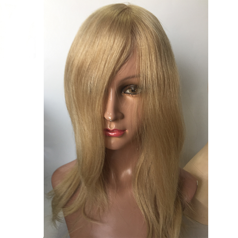 Supply Mono wigs with PU around human hair blonde colors  remy human wigs YL423
