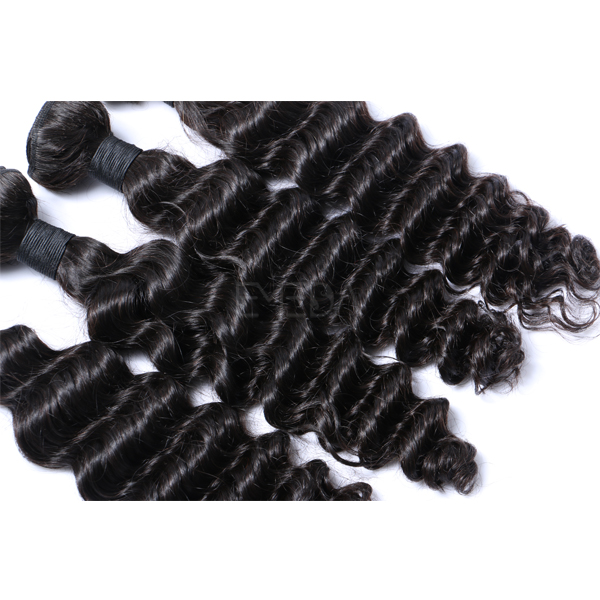 Deep wave wavy wefted human hair extensions CX067