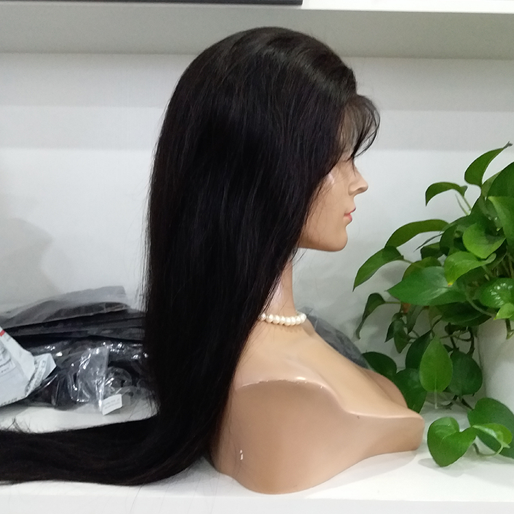 Glueless Lace Front Wig Real Human Hair Black #1b Handtied Lace Wig  LM443