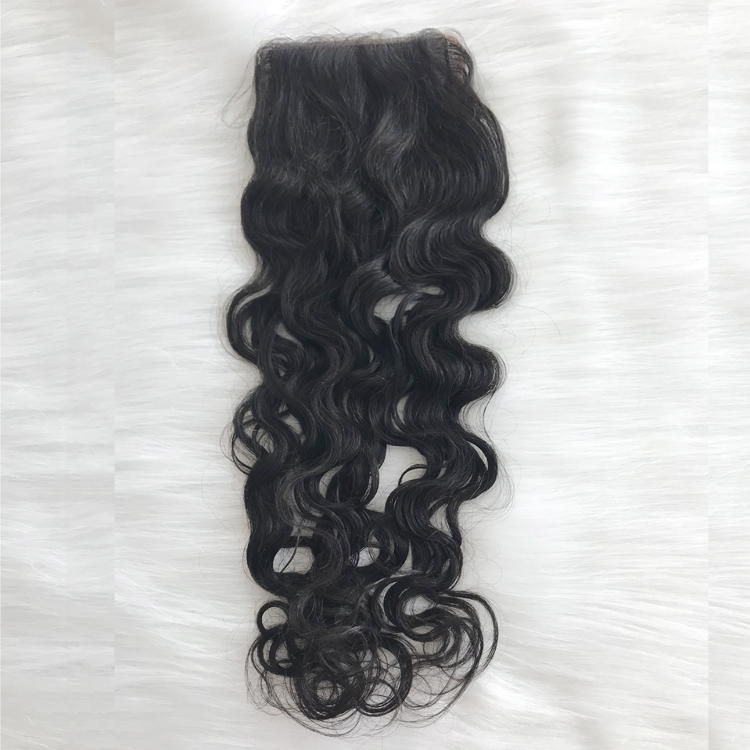 Unprocessed virgin raw Indian human hair silk top closure natural wave YJ294