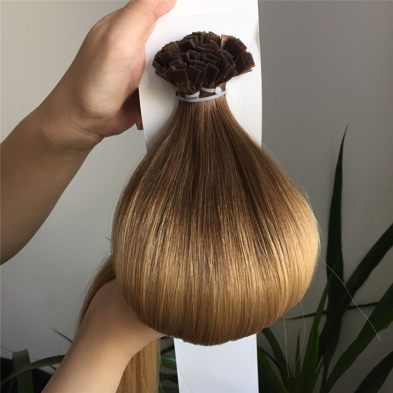 Dark Brown and Light Brown Ombre Color Hair Extension with Cuticle WK218