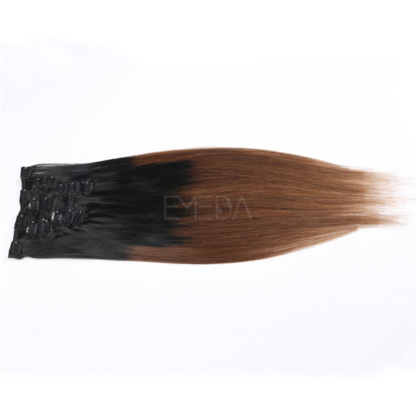 Ombre two tone real human hair clip in extensions WK210