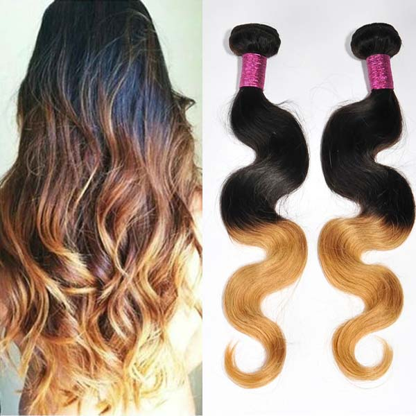 Grade 5A Monglian two tone ombre body wave cheap real hair extensions WK204