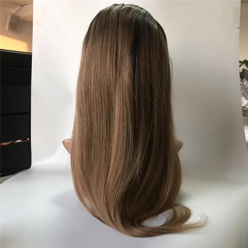 Silk Base Full Lace Wig Big Cap Size 3 Ombre Colors with Straight Hair WK109