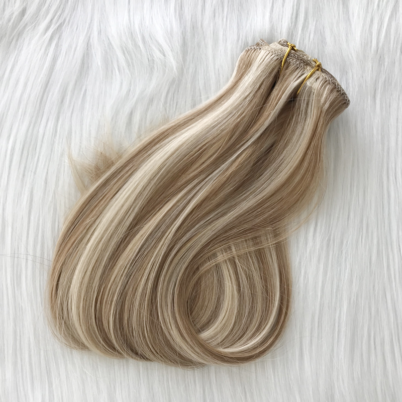 Popular Australia market balayage piano color clip in hair extensions double drawn YJ302