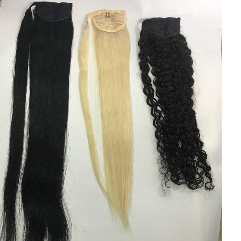 Factory  ponytails  different types of  straight curly   wave human hair ponytail YL451