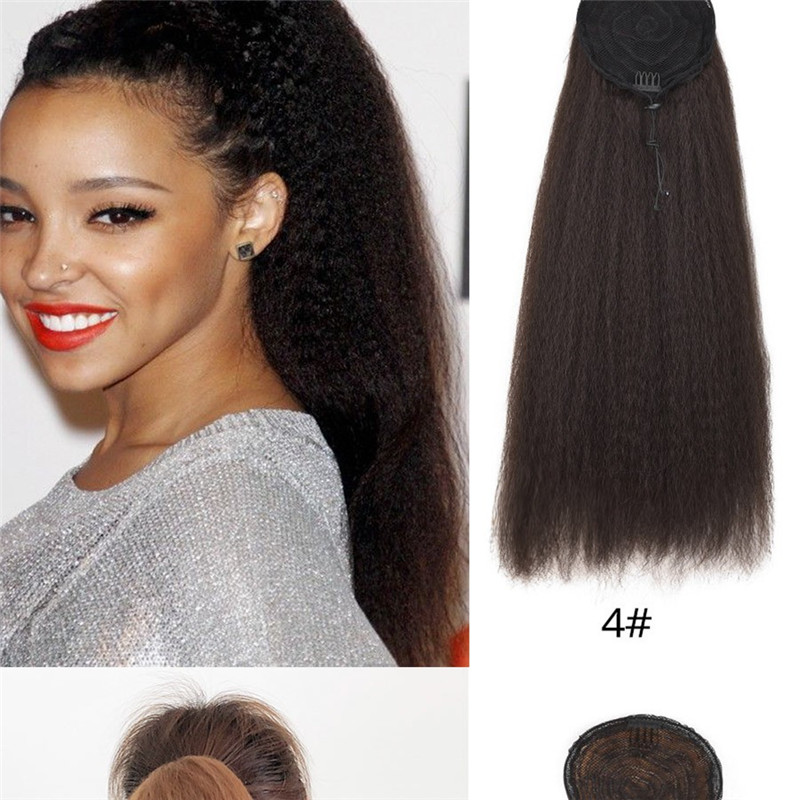 Adjustable Strap Kinky Curly Yaki Ponytail Hairpiece For Women WK123