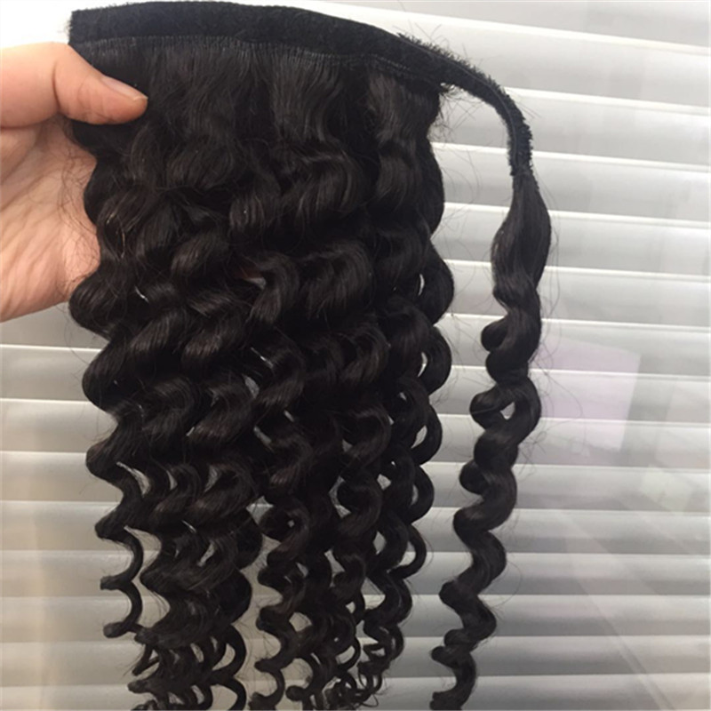 100 Indian human hair cutical aligned human hair ponytail YL266