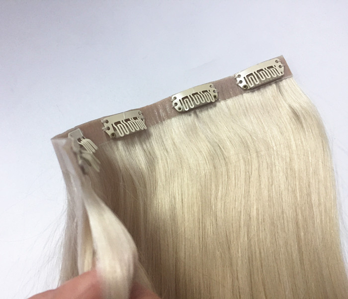 Pu Clip in hair extensions human hair Poly clip in remy YL 388